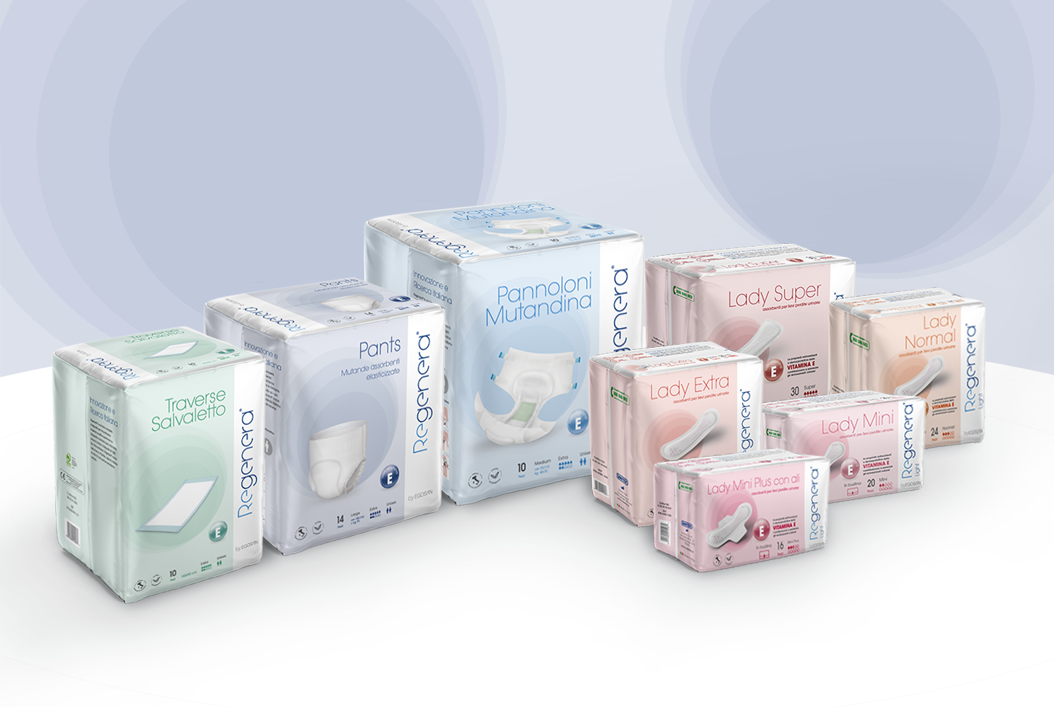 REGENERA INCLUDES SUITABLE SOLUTIONS BOTH FOR LIGHT INCONTINENCE AND FOR HEAVY INCONTINENCE
